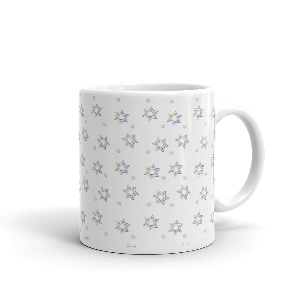 Things Will Get Better - YIHYEH TOV White Mug - Rainbow Magen David, Mug, HEED THE HUM