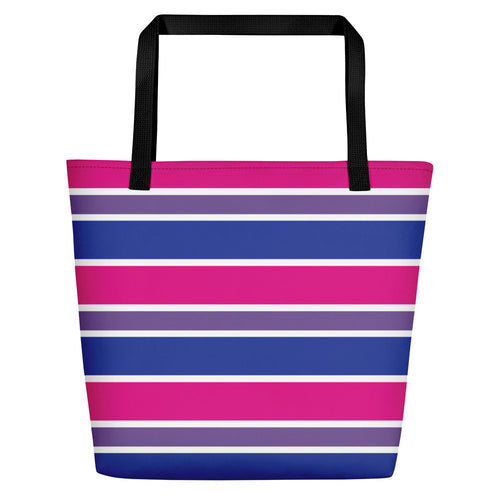 Bisexual Pride Flag Striped Beach Bag - LGBTQ, Tote Bag, HEED THE HUM