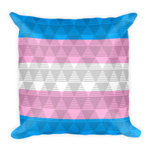 Trans Flag Square Throw Pillow, Pillow, HEED THE HUM