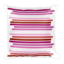 Lesbian Pride Flag Staggered Square Pillow, Throw Pillow, HEED THE HUM