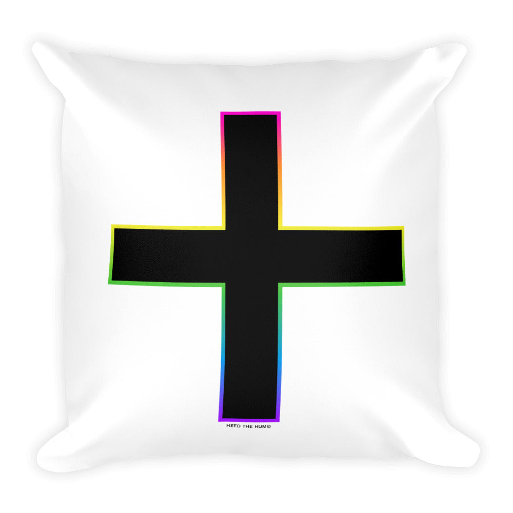 Rainbow Plus LGBTQIA+ Pride Square Pillow, Throw Pillow, HEED THE HUM