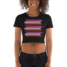 Staggered Lesbian Pride Flag Crop Top Tee Shirt