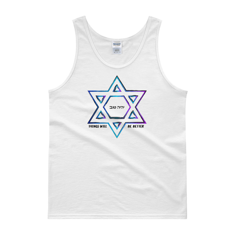 Things Will Be Better - YIHYEH TOV Blues Magen David Unisex Tank Top, , HEED THE HUM