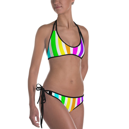 Rainbow Stripes Vertical Bikini, swimwear, HEED THE HUM