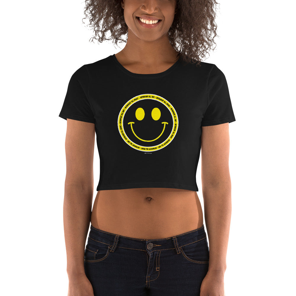 Introvert All Day Smiley Crop Top Tee