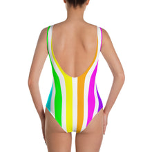 Rainbow LGBTQ Striped One-Piece Swimsuit, swimwear, HEED THE HUM