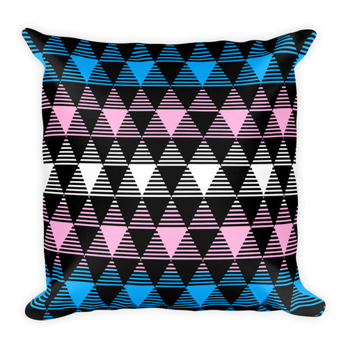 Trans Flag Square Throw Pillow