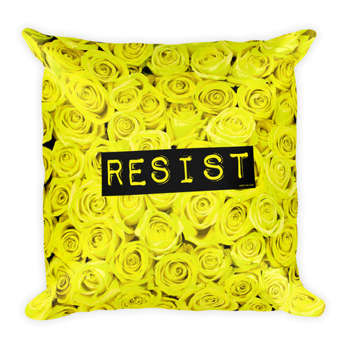 Roses Resist Yellow Square Throw Pillow