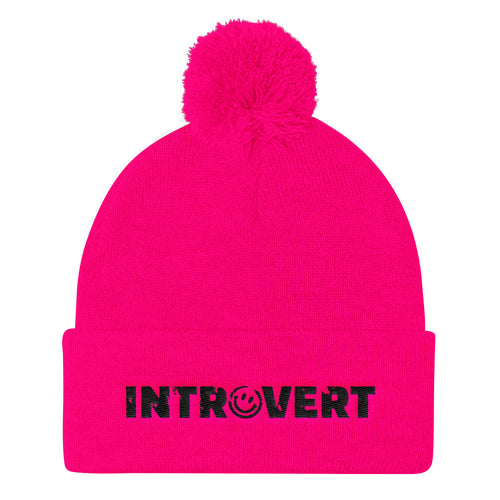 Introvert Pom Pom Knit Cap Hat