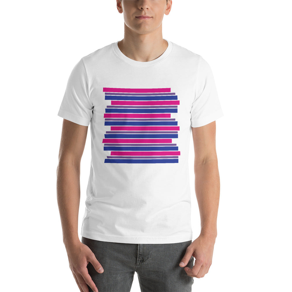 Bisexual Staggered Stripes Short-Sleeve Unisex T-Shirt - LGBTQ PRIDE, Shirts, HEED THE HUM