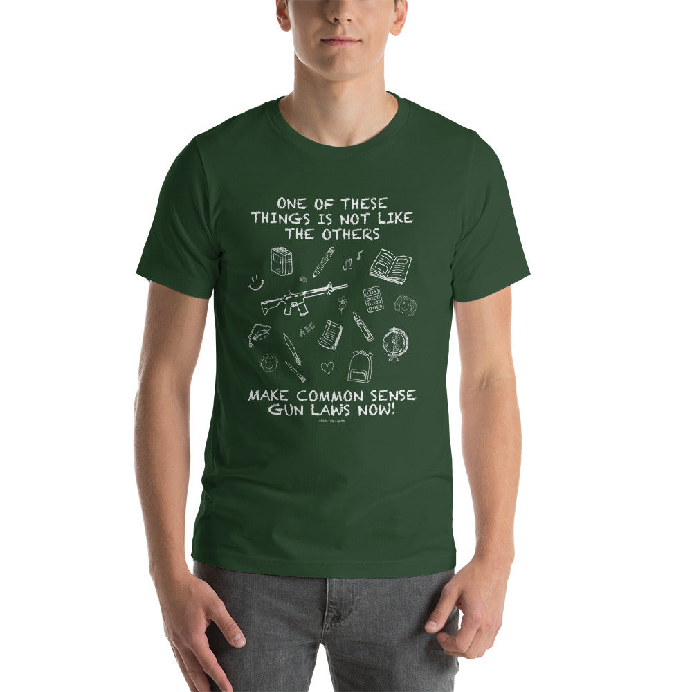 Common Sense Gun Laws Short-Sleeve Unisex Activist Blackboard T-Shirt, Shirts, HEED THE HUM