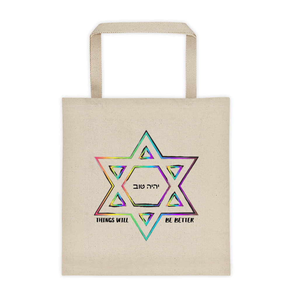 Things Will Get Better - YIHYEH TOV 12 oz Tote bag, Tote Bag, HEED THE HUM