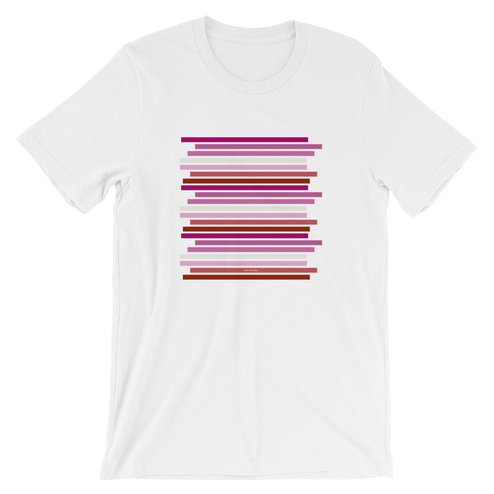 Lesbian Pride Flag Staggered Unisex T-Shirt, Shirt, HEED THE HUM