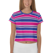 Bisexual Flag Themed Pride All-Over Print Crop Top Tee