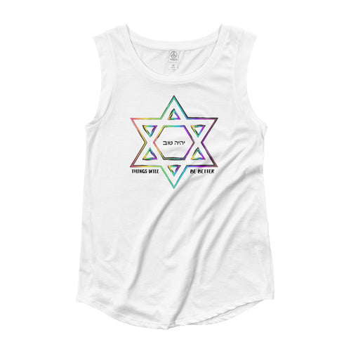 Things Will Get Better - YIHYEH TOV Rainbow Woman's Cut Cap Sleeve T-Shirt