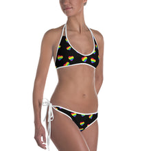 LGBTQ Black Rainbow Heart Bikini, Bikinis, HEED THE HUM
