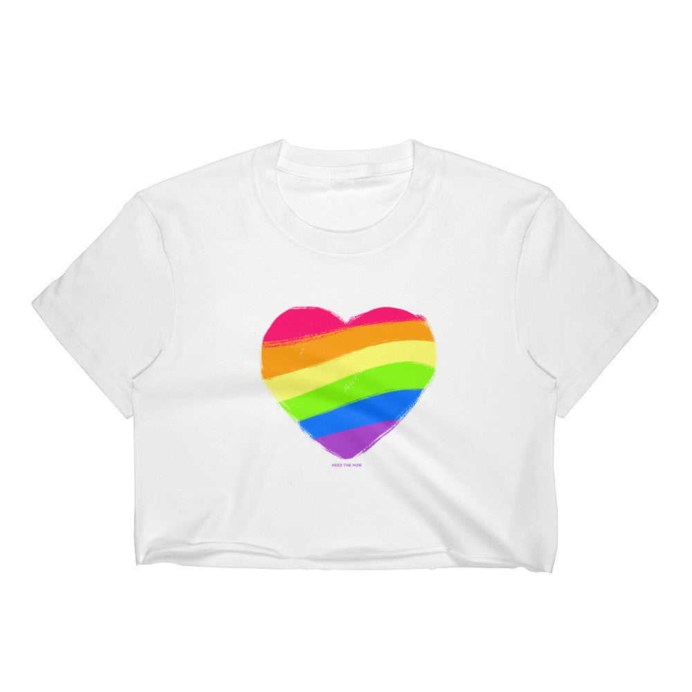 Rainbow Heart Crop Top - LGBTQ Queer Gay Pride, Shirt, HEED THE HUM