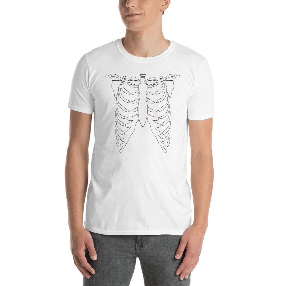 Black and White Skeleton Short-Sleeve Unisex T-Shirt, , HEED THE HUM