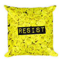 Roses Resist Yellow Square Throw Pillow, Pillow, HEED THE HUM