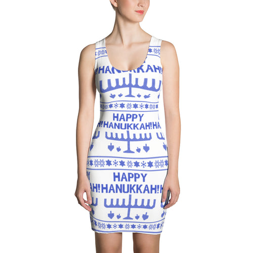 Happy Hanukkah Ugly Christmas Sweater Sublimation Cut & Sew Dress, Dress, HEED THE HUM