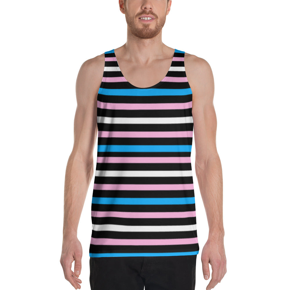 Tranks Pride Flag Striped Unisex Tank Top, , HEED THE HUM