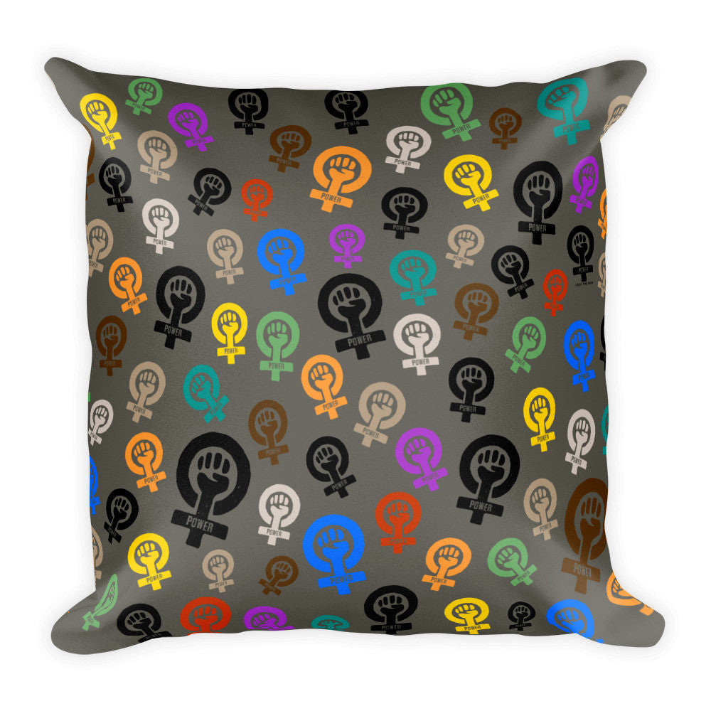 Feminist Power Pattern Square Throw Pillow, Pillow, HEED THE HUM
