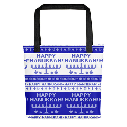 Happy Hanukkah Ugly Christmas Sweater Tote bag, Tote Bag, HEED THE HUM