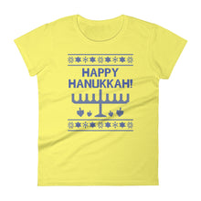 Happy Hanukkah Ugly Christmas Sweater Women's Cut T-shirt, Shirts, HEED THE HUM