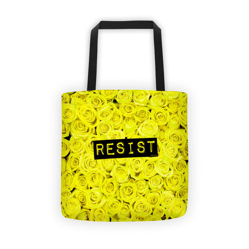 Roses Resist Yellow Tote bag, Tote Bag, HEED THE HUM