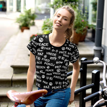 Peace All-Over Print Black Crop Top Tee, shirts, HEED THE HUM