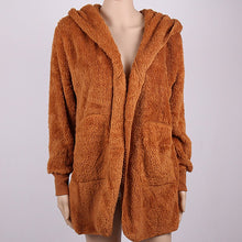 Soft Hooded Fluffy Fleece Cardigan with Pockets- Faux Fur Winter Sweater, Sweater, HEED THE HUM