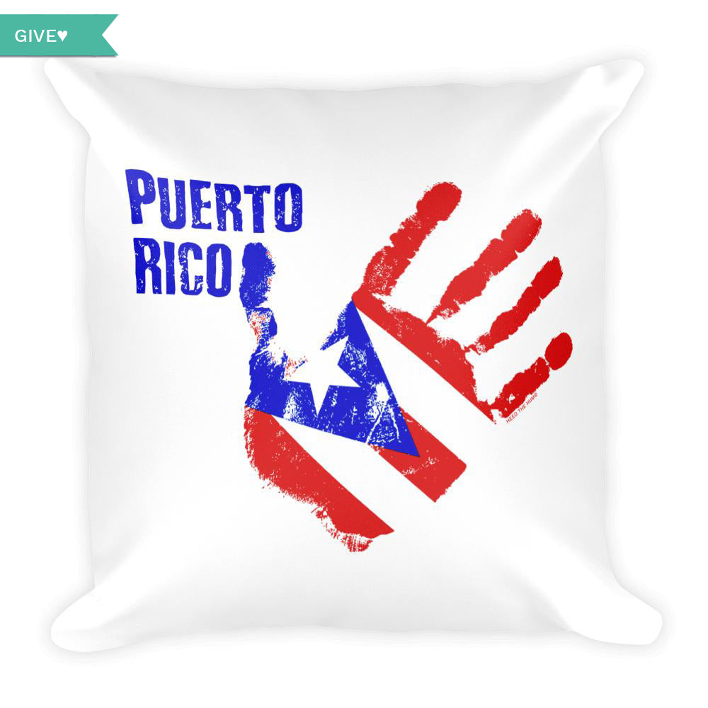 Puerto Rico Relief Square Throw Pillow, Throw Pillow, HEED THE HUM