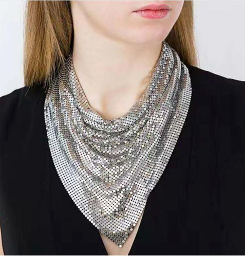 Metal Mesh Statement Bandana Style Necklace