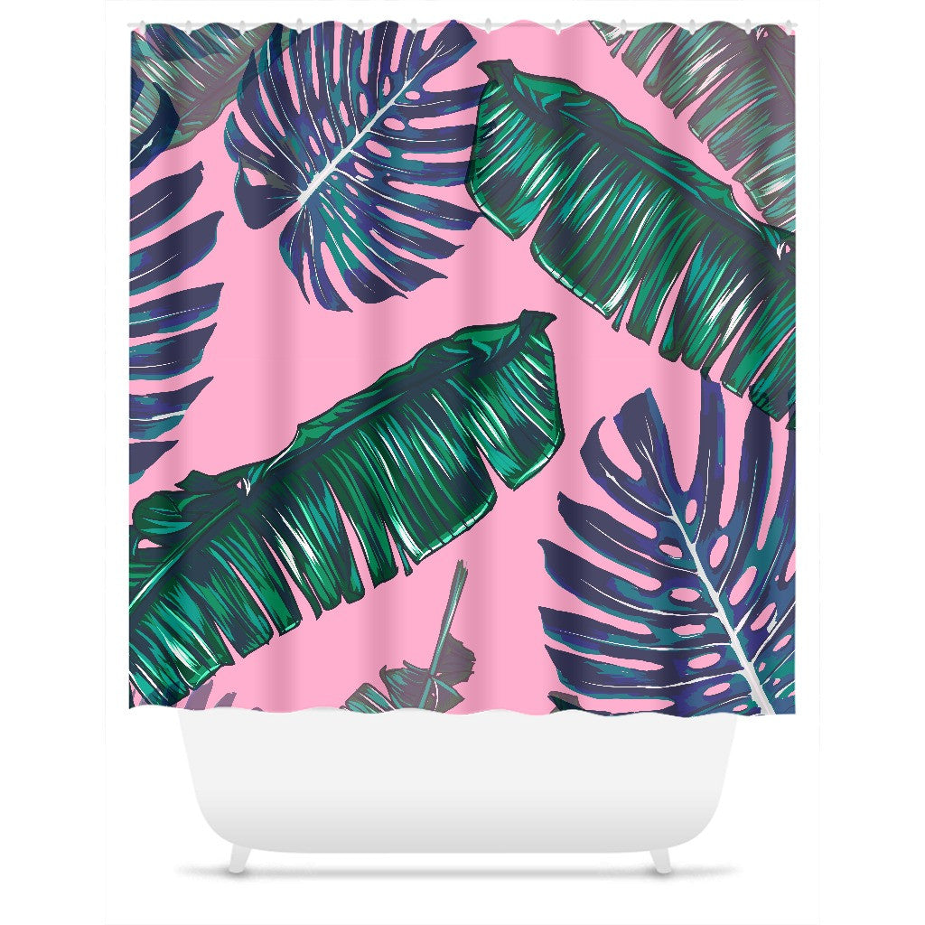 Pink and Palm Shower Curtain