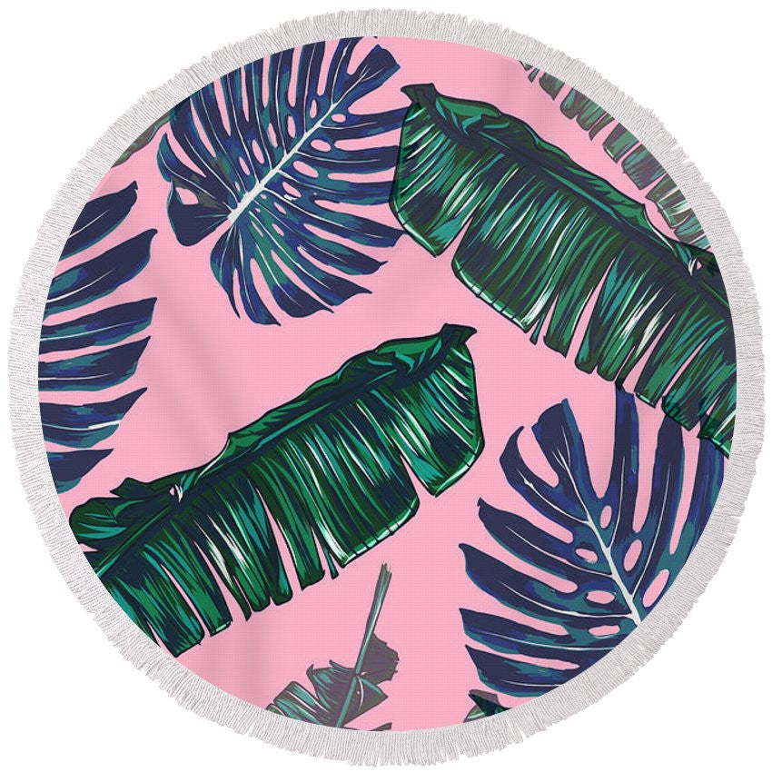 Pink And Palms Round Beach Towel | numinous.co