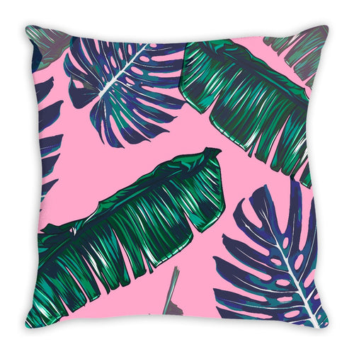 Pink and Palms Throw Pillow | numinous.co