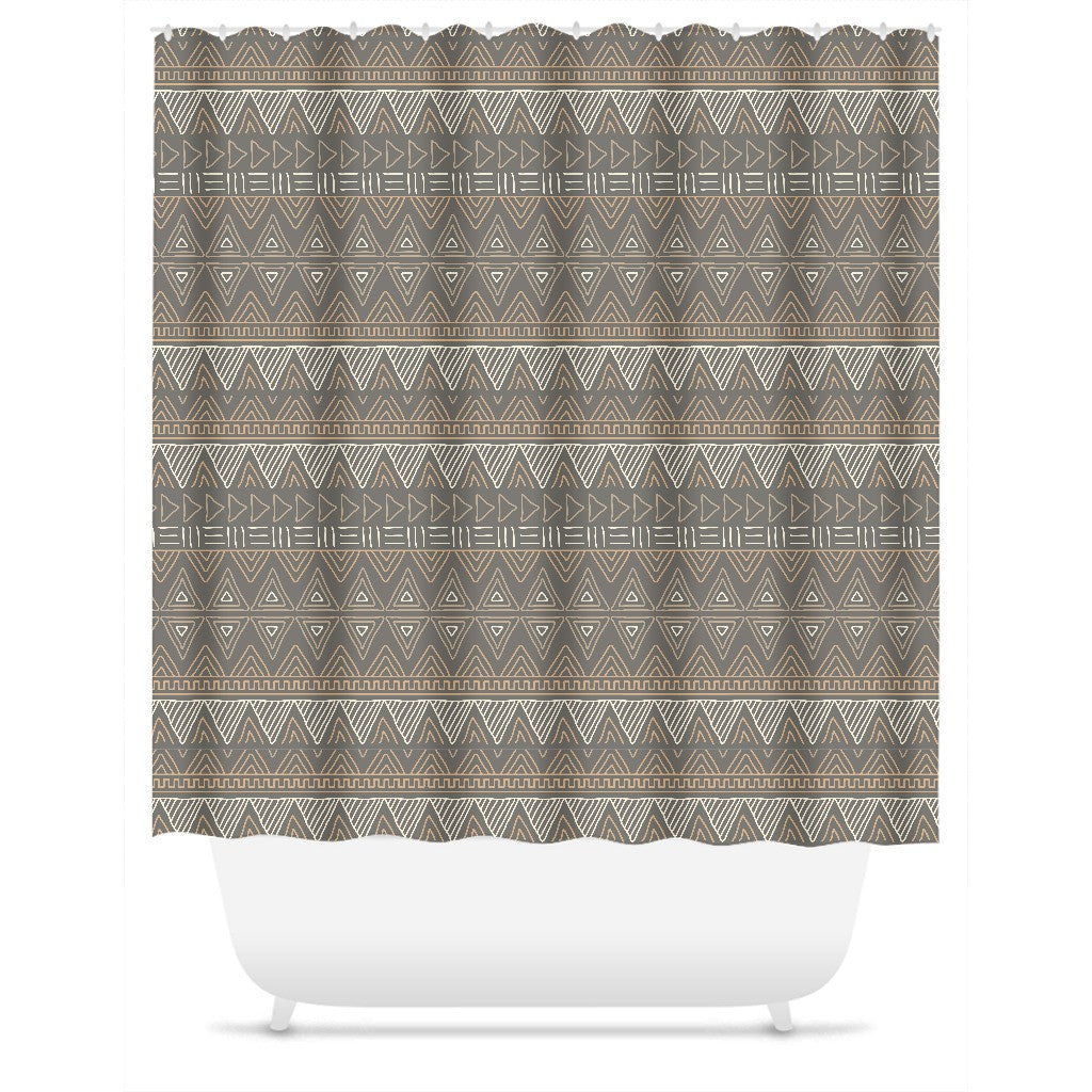 Brown African Mud Cloth Shower Curtain