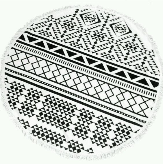 Aztec Black & White Round Tassel Beach Towel | numinous.co