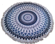 Tangier Blue & White Round Tassel Beach Towel | numinous.co