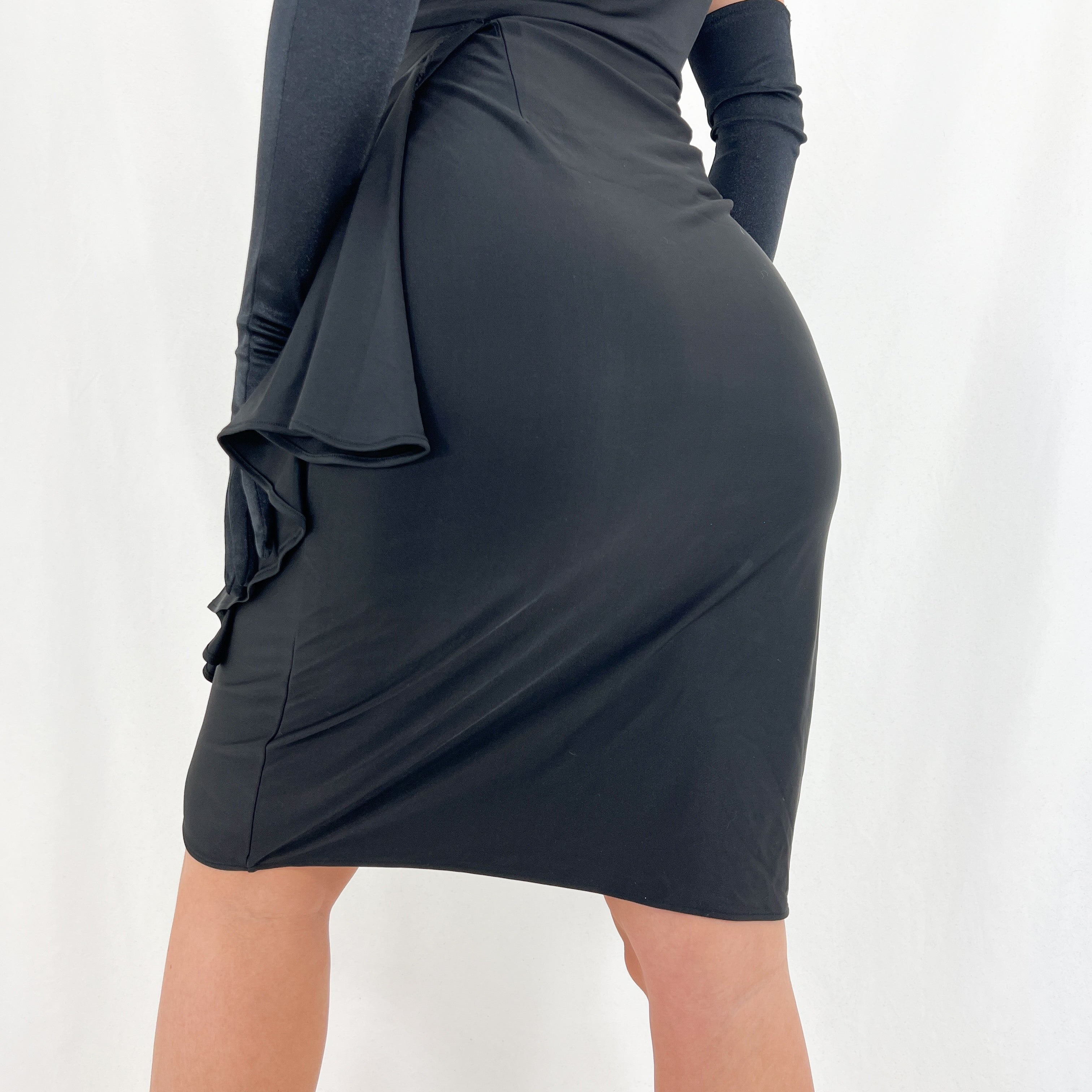 90s Black Halter Ruffle Dress [M]