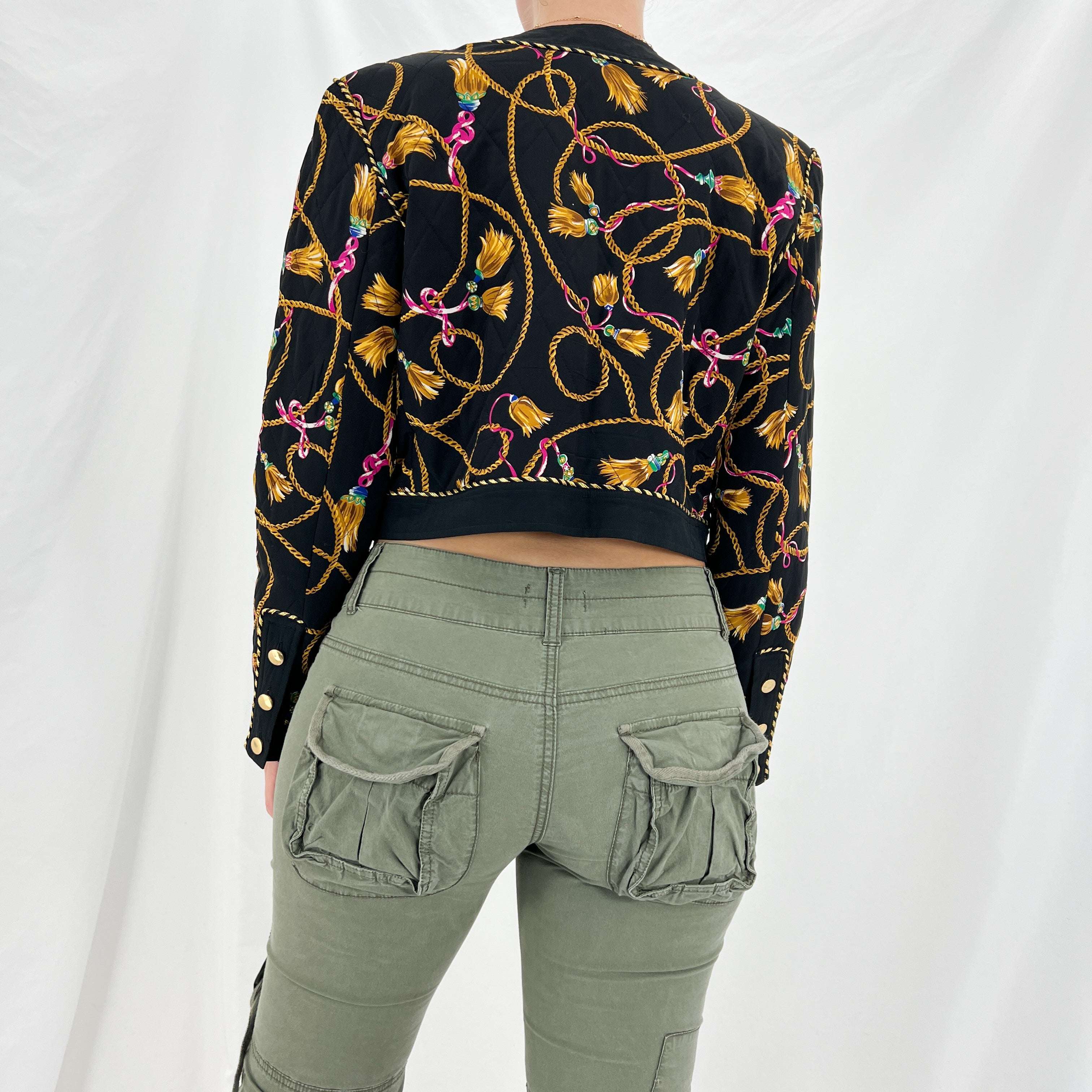 90s Black Maxi Dress W/ Gold Hardware Cut Out Sleeves [M]