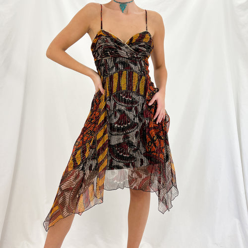 Black Multi-color Butterfly Wrap Skirt [M]