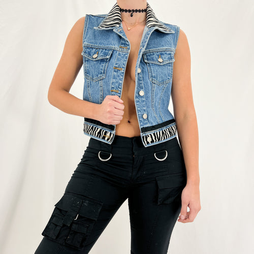 80s Electric Blue Genuine Leather Skirt [2]