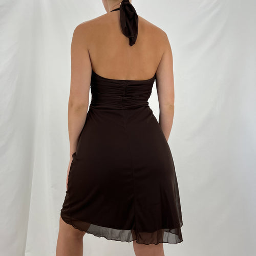 Vintage 80s Black Stretchy Dress W/ Black Crop Jacket + Gold [M]