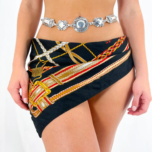 Brown Skirt Suit w/ Orange + Gold Buttons [S]