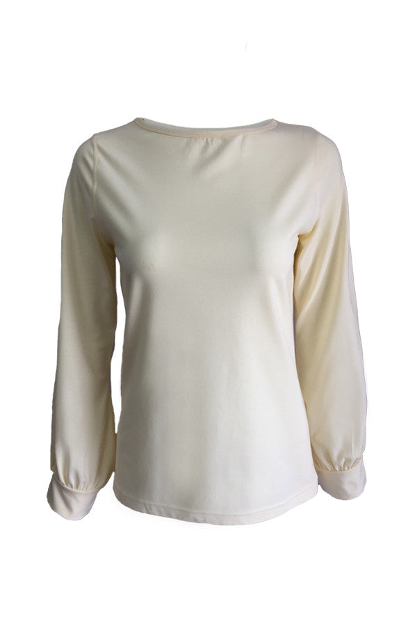 Long Sleeve Blouse - Beige
