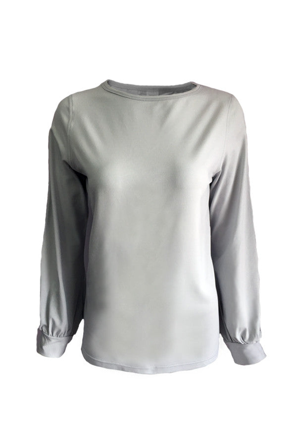 Long Sleeve Blouse - Grey