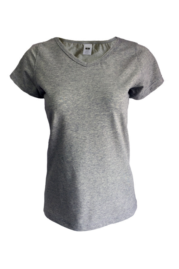 V Neck Tee Slim Fit - Grey