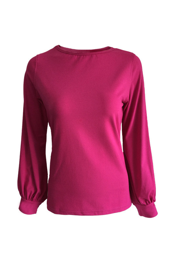 Long Sleeve Blouse - Magenta