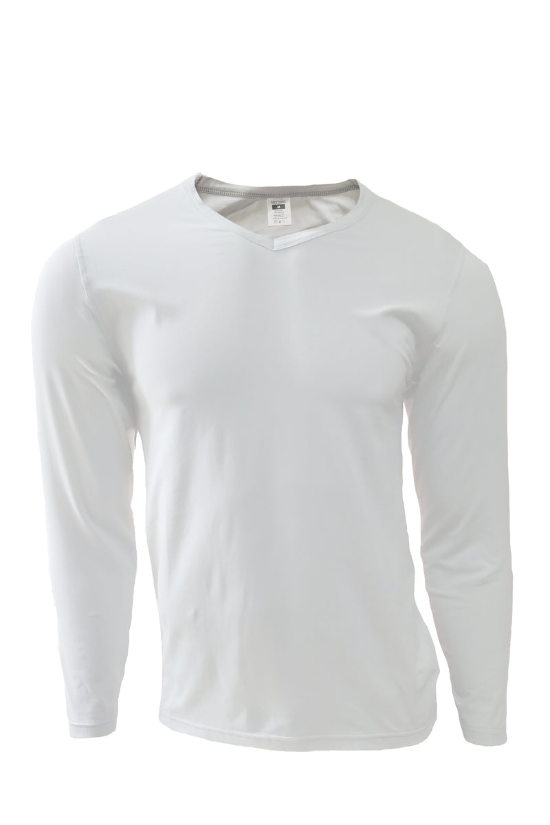 Long Sleeve V Neck Tee - White